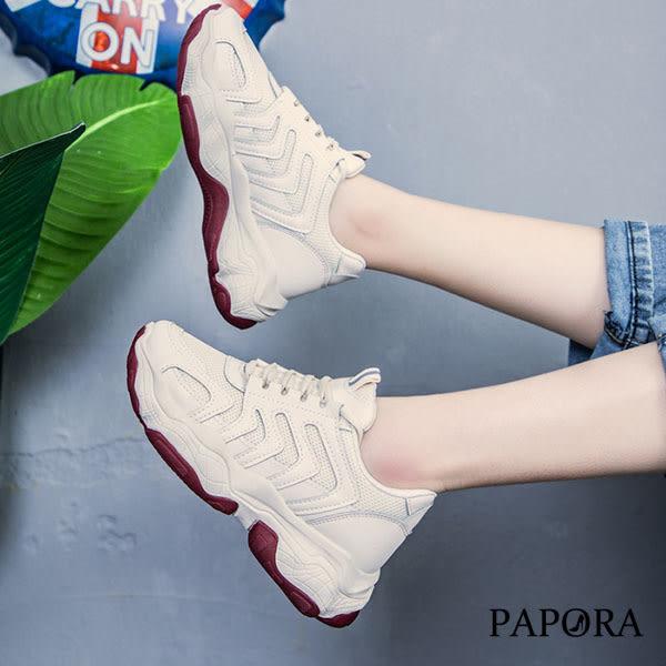 PAPORA厚底學院風休閒老爹鞋K602白/米/粉(偏小2碼)*小腳福星