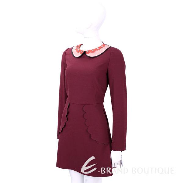 RED VALENTINO 暗紅色鉚釘飾娃娃領長袖洋裝 1540243-74
