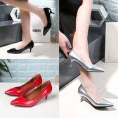 低跟高跟鞋細跟3cm淺口尖頭黑色職業鞋漆皮單鞋潮【蘇迪蔓】