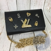 BRAND楓月 LV M63897 黑 水波紋 愛心鑰匙孔 金屬裝飾 TWIST WOC