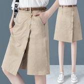 褲裙 裙褲一體假兩件五分褲女夏2020年流行的褲子高腰寬鬆短褲大碼中褲-Ballet朵朵