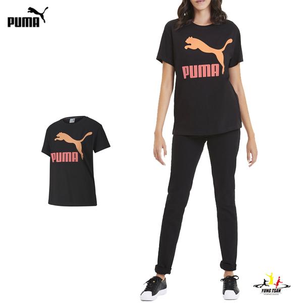 Puma Logo 女 黑 短袖 運動短袖 T恤 流行系列 運動上衣 短T 休閒 上衣 59551491