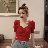 小款上衣女短款t恤夏季v領收腰緊身泡泡袖針織短袖女裝2020新款潮 米娜小鋪