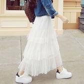 百褶裙三層蛋糕裙網紗裙沙灘裙長款半裙女