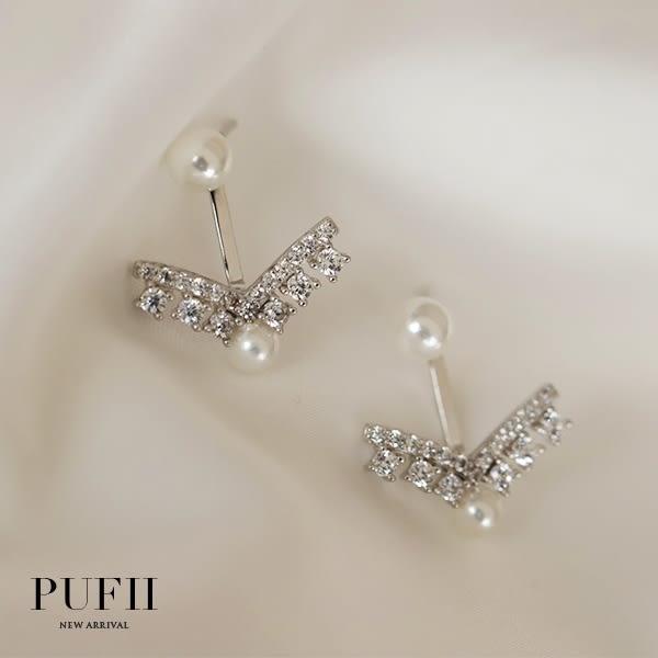 PUFII-耳環 2WAY珍珠箭頭耳環(附酒精棉片)-0110 現+預 冬【CP15870】