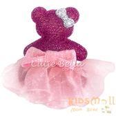 Cutie Bella芭蕾舞小熊全包布手工髮夾-Dancing Teddy-Fuchsia