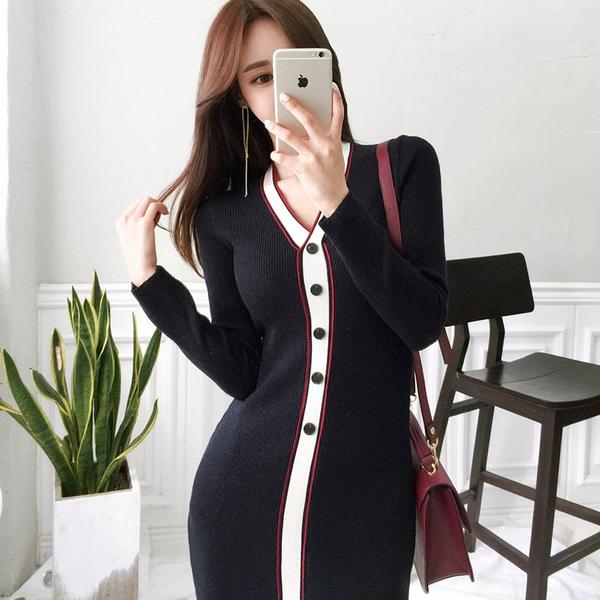 VK旗艦店 韓國風拼色紐扣針織包臀長袖洋裝