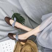 618好康又一發韓版蝴蝶結粗跟中跟淺口單鞋方頭瑪麗珍鞋