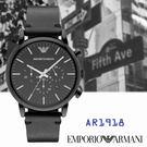 ARMANI亞曼尼 搶眼全黑錶框大錶面三眼碼表計時皮帶男錶x45mm黑・AR1918|名人鐘錶高雄門市