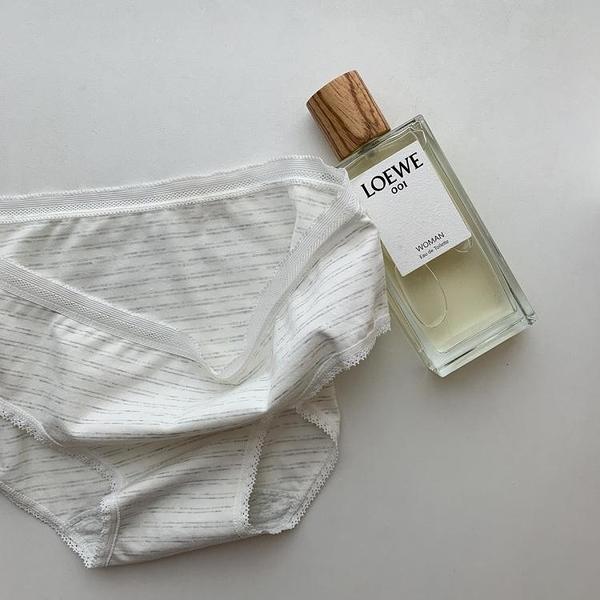 促銷特惠 日系簡約做舊條紋薄款中腰少女三角內褲透氣底褲內搭