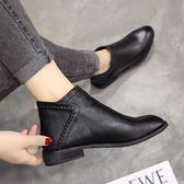 復古馬丁靴女英倫風秋季單靴新款女鞋平底女靴子粗跟短靴潮