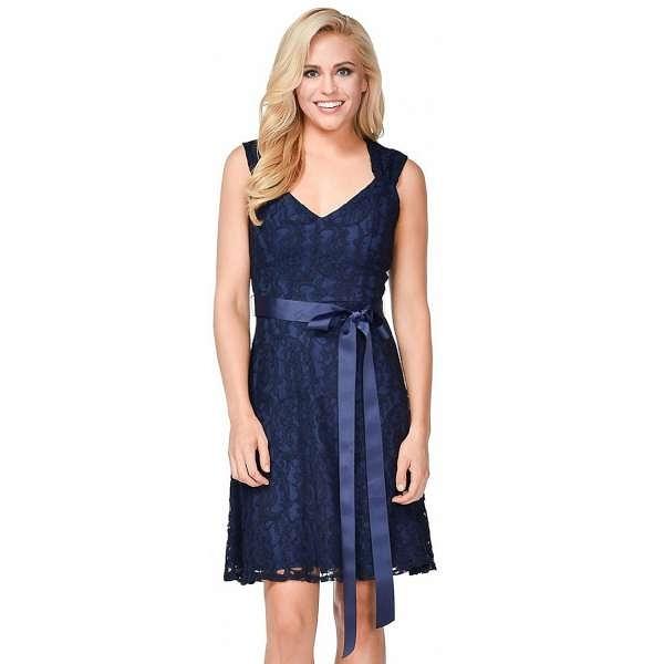 【摩達客】美國進口Landmark甜美V領蕾絲深藍色派對洋裝晚宴短禮服浪漫修身小禮服(含禮盒/附絲巾)