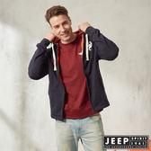 【JEEP】時尚運動風休閒連帽外套 (深藍)