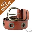 TALERF重金屬個性牛仔皮帶(紅棕色/共2色)-女 /真皮 牛皮/台灣製造
