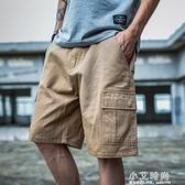 工裝褲男潮流寬鬆多口袋褲子休閒迷彩五分褲男士短褲夏季七分中褲【小艾新品】