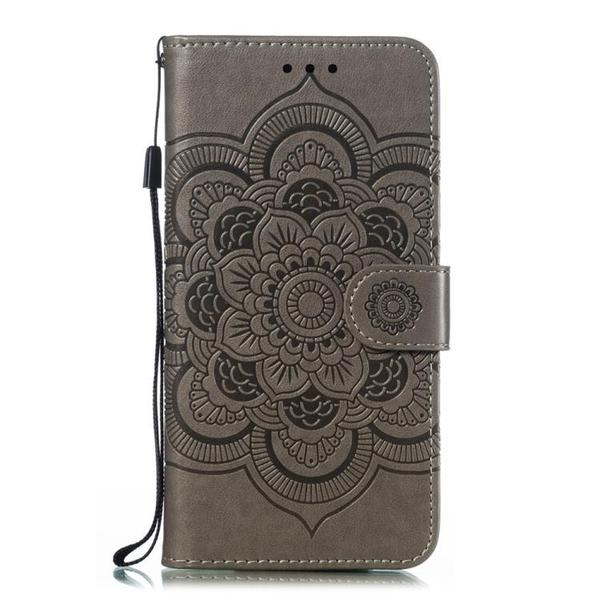 時尚曼陀羅壓花 LG G8 ThinQ 皮套 掀蓋保護殼 錢包款 手機殼 LG G8S ThinQ掛繩 翻蓋皮套 手機套