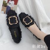中大尺碼 女2019夏季新款網紅單鞋女平底方頭豆豆鞋韓版學生百搭奶奶鞋 js26793『科炫3C』