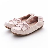 MICHELLE PARK 超輕軟舒適小蝴蝶結手工流蘇層次感莫卡辛休閒豆豆平底鞋-粉紅色