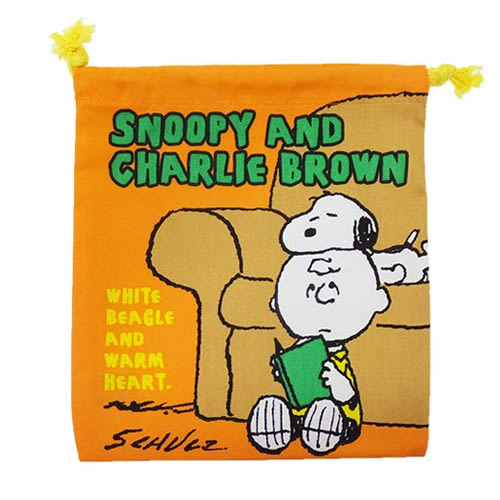 【日本進口正版】史努比 Snoopy 查理布朗款 帆布 束口袋 收納袋 抽繩束口袋 PEANUTS - 292834