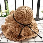 親子草帽母女出游手工沙灘帽兒童蝴蝶結遮陽防曬帽子女夏【小梨雜貨鋪】