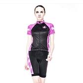 自行車衣套裝-含短袖腳踏車服+單車褲-薄款透氣舒適女運動服69u52[時尚巴黎]