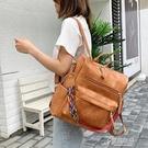 手提包 2021新款雙肩包時尚女士背包 多用手提單肩斜背包 韓版pu學生書包 16原本