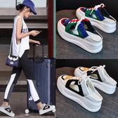 半拖鞋 包頭半拖鞋女夏時尚外穿韓版休閒厚底百搭無后跟懶人鞋潮