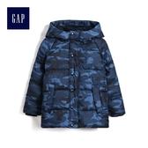 Gap男童 保暖連帽長袖羽絨服 480042-藍色迷彩