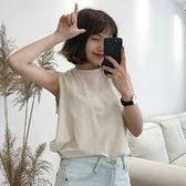 純色背心無袖T恤學生寬鬆內襯衫上衣 『名購居家』