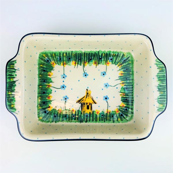 【手工波蘭陶 CA大廠】波蘭陶 雙耳長方形盤 烤盤 A84U4707 ( U3) 稻草屋