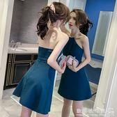 韓版夜店女裝性感掛脖露背 露肩無袖a字洋裝/潮  歐韓流行館