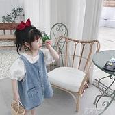 兒童裙2020夏季韓版女童寶寶洋氣休閒復古單排扣百搭牛仔吊帶裙潮 米娜小鋪