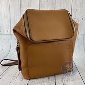 BRAND楓月 LOEWE 羅意威 焦糖GOYA SMALL後背包 小書包 兩用包 手提包 肩背包 皮質 荔枝紋