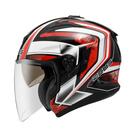 【東門城】ZEUS ZS613B AJ6 (黑紅) 半罩複合式越野帽 雙層鏡片
