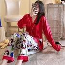 和服 睡衣女春秋冰絲長袖日系和服款甜美卡通寬鬆薄款冬白色家居服套裝 薇薇