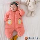 嬰兒連身衣服寶寶加絨加厚冬季棉衣新生幼兒爬服【淘夢屋】