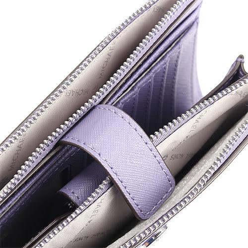 MICHAEL KORS JET SET銀字LOGO防刮皮革雙層手拿長夾(淺紫色)618134-7