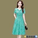 媽媽洋裝 媽媽夏裝短袖連身裙2021新款四五十歲中年婦女夏季洋氣質高貴裙子 維多原創
