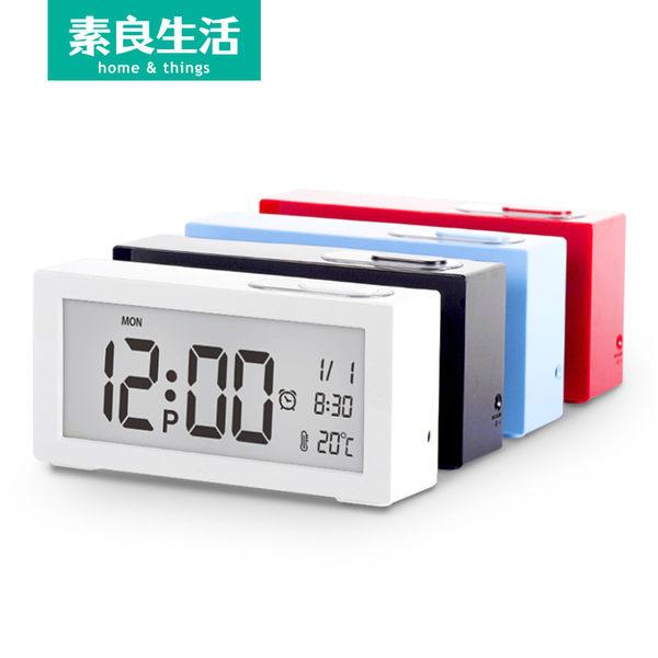 LCD床頭臥室創意靜音學生簡約夜光懶人時鐘錶溫度小電子鬧鐘【時尚家居館】
