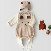 棉感可愛熊熊無袖包屁衣 附帽子 哈衣 兔裝 無袖上衣 套裝 帽子 連身包屁衣