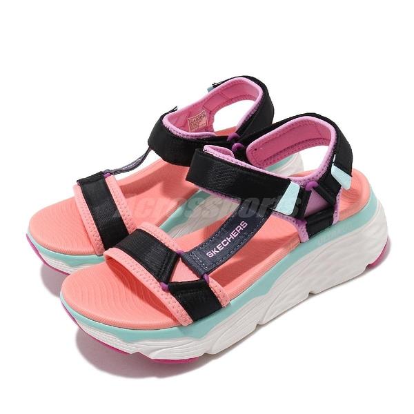 Skechers 涼拖鞋 Max Chushioning 黑 紫 橘 女鞋 厚底 綁帶 【ACS】 140125BKMT