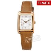 TIMEX 天美時 / TXTW2R89500 / 美國品牌 經典復刻 日常生活防水 真皮手錶 銀白x玫瑰金框x褐 25mm