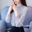 長袖襯衫-長袖雪紡衫女裝秋裝款潮韓版時尚蕾絲上衣襯衫百搭衣服氣質 Korea時尚記