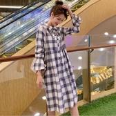 初心 韓系 洋裝【D3166】韓系 格紋 喇叭袖 長款 長袖 洋裝 連身裙 長袖 洋裝