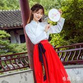 漢服秋裝女改良版中國風現代日常漢元素套裝古風長裙 DJ1557『毛菇小象』