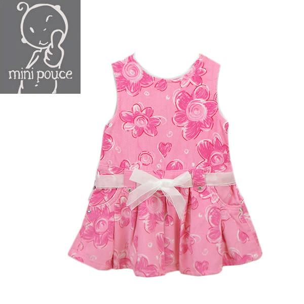 背心裙 連身裙 法國品牌 mini pouce 燈芯絨 女童 寶寶 花朵 背心式 洋裝 連身衣 吊帶裙