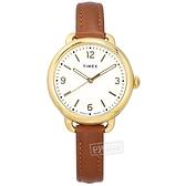 TIMEX 天美時 / TXTW2U60000 / 知性典雅 簡約時尚 冷光照明 礦石強化玻璃 真皮手錶 白x金框x咖啡 30mm