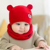 [新年戴新帽]毛帽+圍巾二件組 童帽 寶寶帽 造型帽 毛線帽+圍脖 兩件組 秋冬保暖0-2Y【JD0051】
