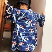 日式和風開衫羽織外套男正韓原宿風大碼防曬衣薄襯衣道袍