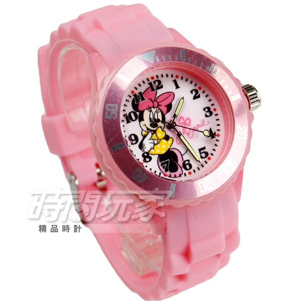 Disney 迪士尼 MICKEY MOUSE 米妮卡通手錶 兒童手錶 夜光指針 粉紅 DU5-9999米妮